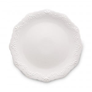 Prato Raso Wolff Alto Relevo Durable Porcelain Branco 27cm 6 Peças de Porcelana