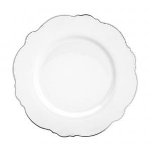 Prato Raso Wolff Maldivas Fio Prateado Branco 28cm 6 Peças de Porcelana